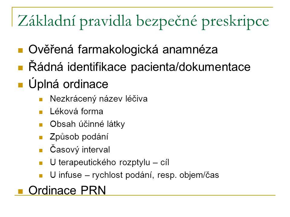 Základní pravidla bezpečné preskripce Ověřená farmakologická anamnéza Řádná identifikace pacienta/dokumentace Úplná ordinace Nezkrácený název léčiva L