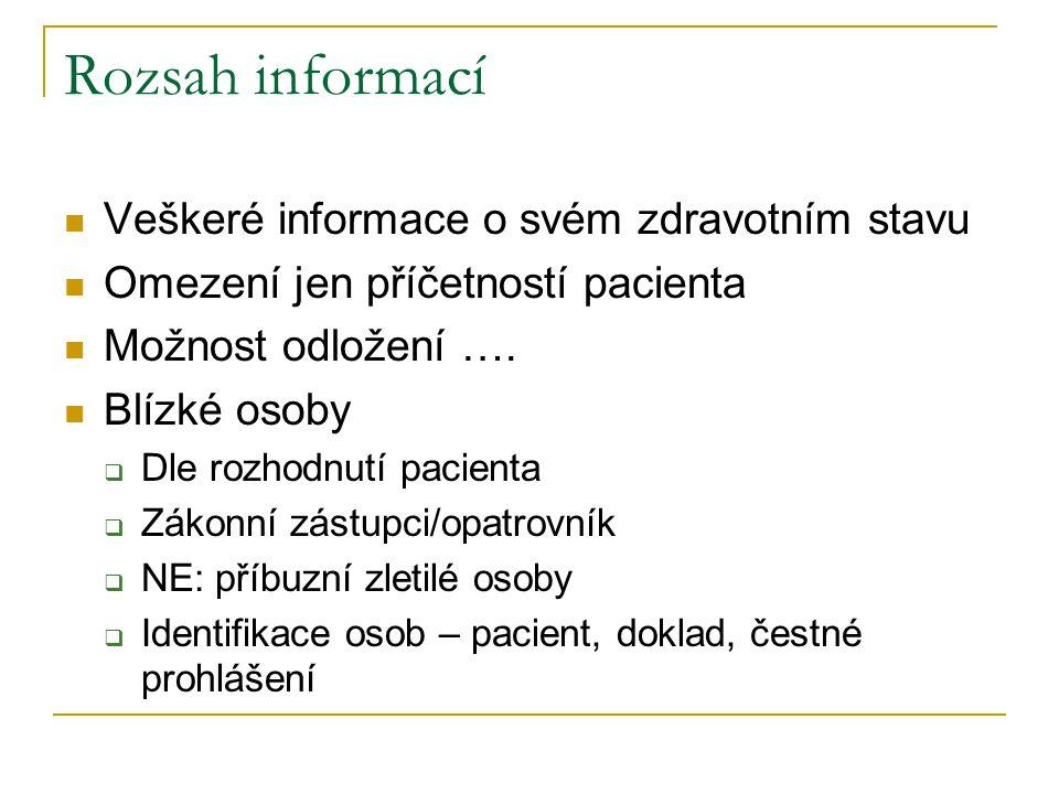 Rozsah informací Veškeré informace o svém zdravotním stavu Omezení jen příčetností pacienta Možnost odložení …. Blízké osoby  Dle rozhodnutí pacienta