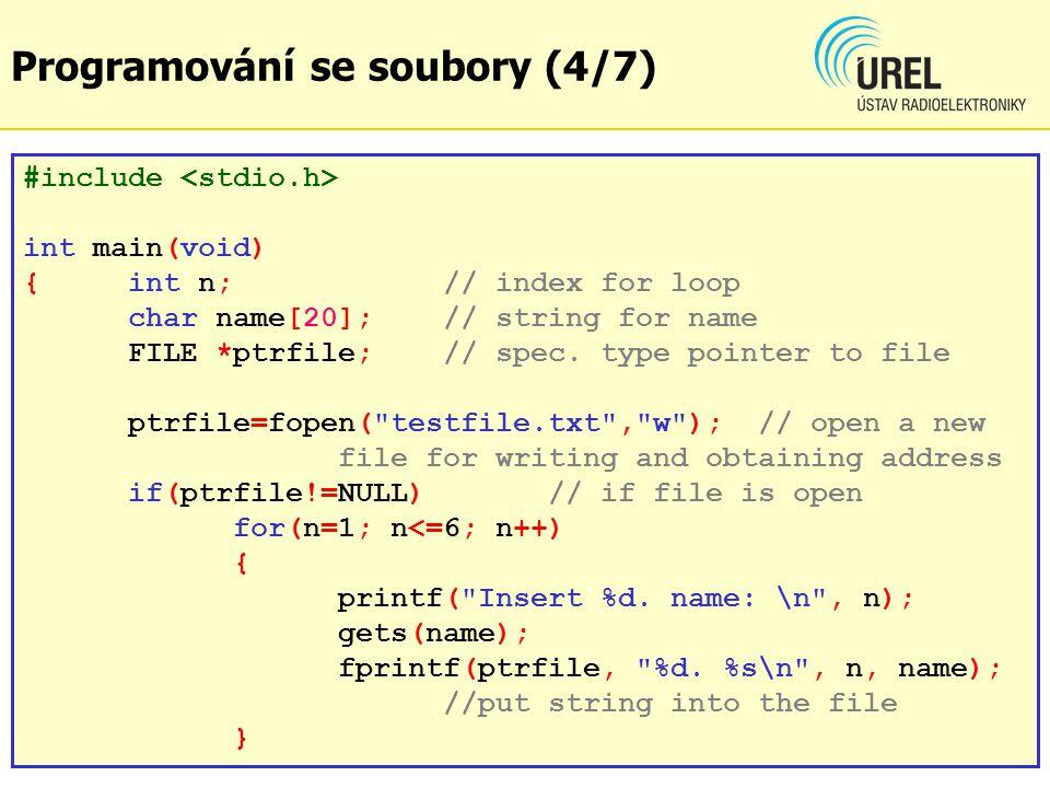 funkce int fscanf(ukazatel na soubor, řetězec) Funkce načte formátovaný řetězec řetězec z otevřeného souboru s povoleným čtením, soubor je definován ukazatelem ukazatel na soubor.