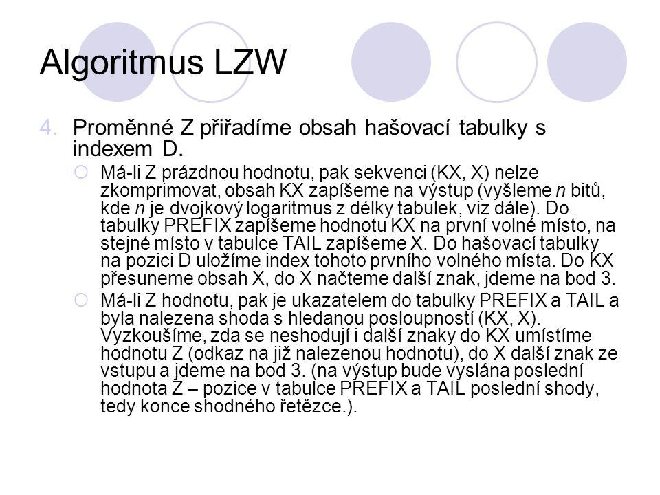 Algoritmus LZW 4.Proměnné Z přiřadíme obsah hašovací tabulky s indexem D.  Má-li Z prázdnou hodnotu, pak sekvenci (KX, X) nelze zkomprimovat, obsah K