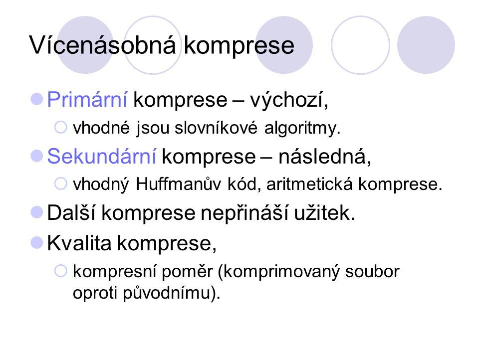 Vícenásobná komprese Primární komprese – výchozí,  vhodné jsou slovníkové algoritmy. Sekundární komprese – následná,  vhodný Huffmanův kód, aritmeti