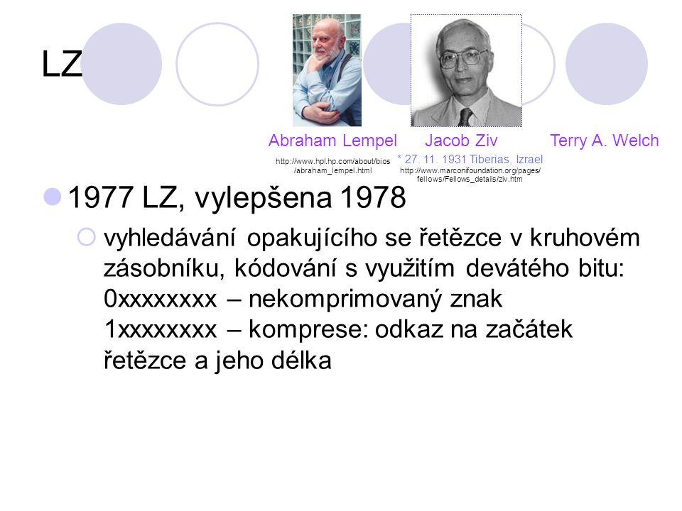 LZ Terry A. Welch 1977 LZ, vylepšena 1978  vyhledávání opakujícího se řetězce v kruhovém zásobníku, kódování s využitím devátého bitu: 0xxxxxxxx – ne