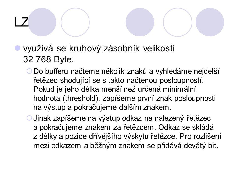 LZ využívá se kruhový zásobník velikosti 32 768 Byte.  Do bufferu načteme několik znaků a vyhledáme nejdelší řetězec shodující se s takto načtenou po