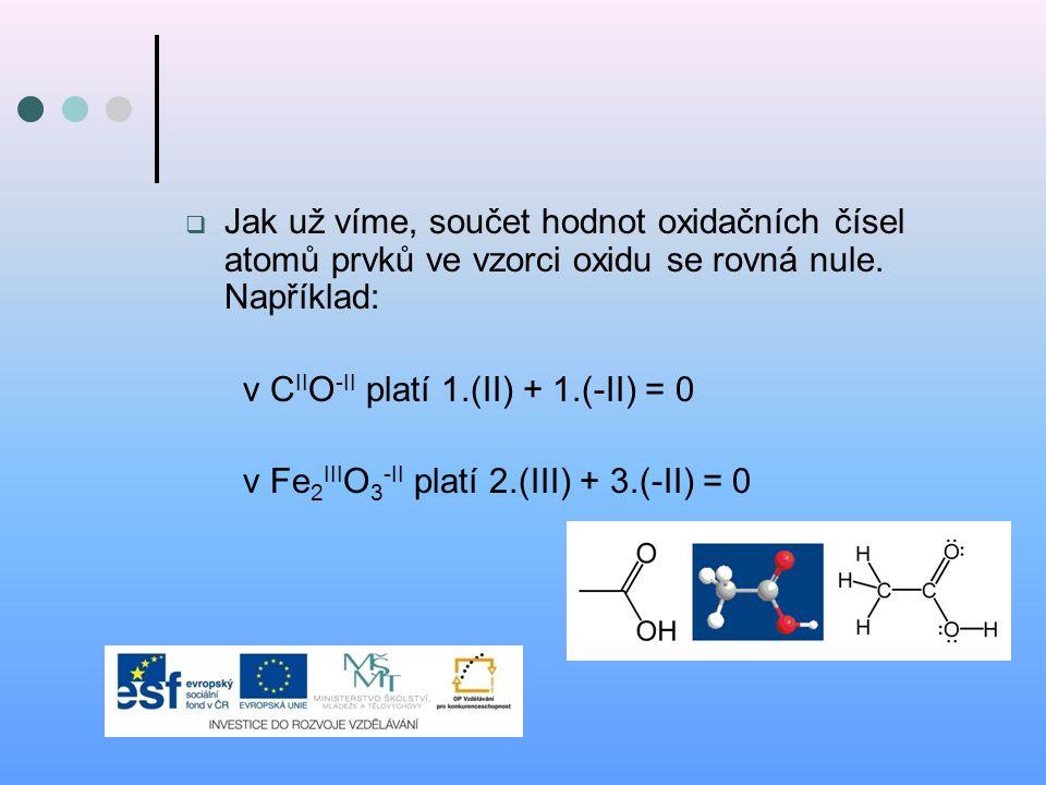  Jak už víme, součet hodnot oxidačních čísel atomů prvků ve vzorci oxidu se rovná nule. Například: v C II O -II platí 1.(II) + 1.(-II) = 0 v Fe 2 III