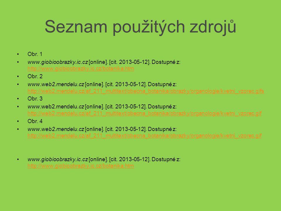 Seznam použitých zdrojů Obr. 1 www.giobioobrazky.ic.cz [online]. [cit. 2013-05-12]. Dostupné z: http://www.giobioobrazky.ic.cz/botanika.htm http://www