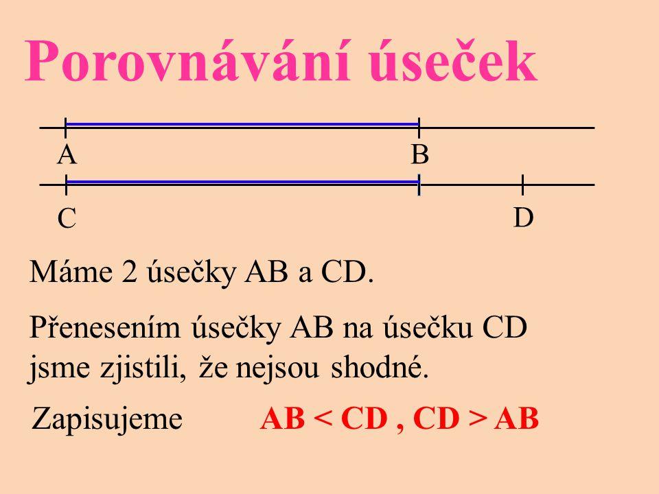 Porovnávání úseček AB C D Máme 2 úsečky AB a CD. Přenesením úsečky AB na úsečku CD jsme zjistili, že nejsou shodné. Zapisujeme AB AB