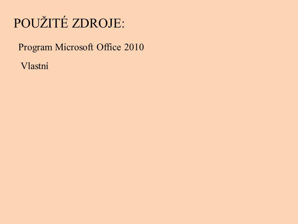 Program Microsoft Office 2010 POUŽITÉ ZDROJE: Vlastní