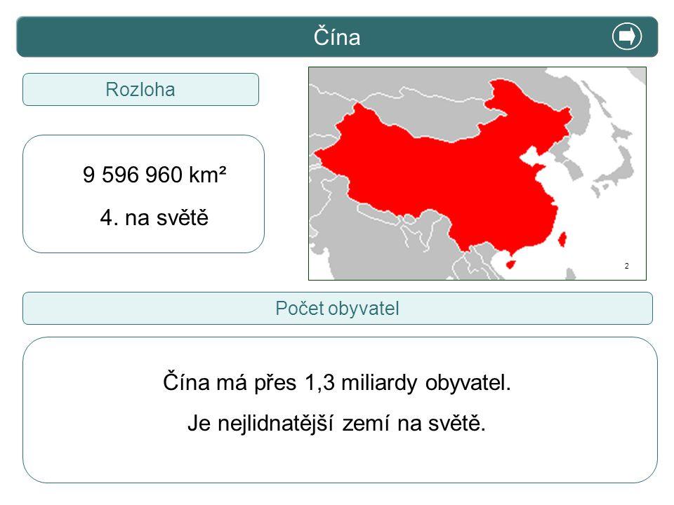 X. Zajímavosti Čína Rozloha Čína má přes 1,3 miliardy obyvatel. Je nejlidnatější zemí na světě. Počet obyvatel 9 596 960 km² 4. na světě 2