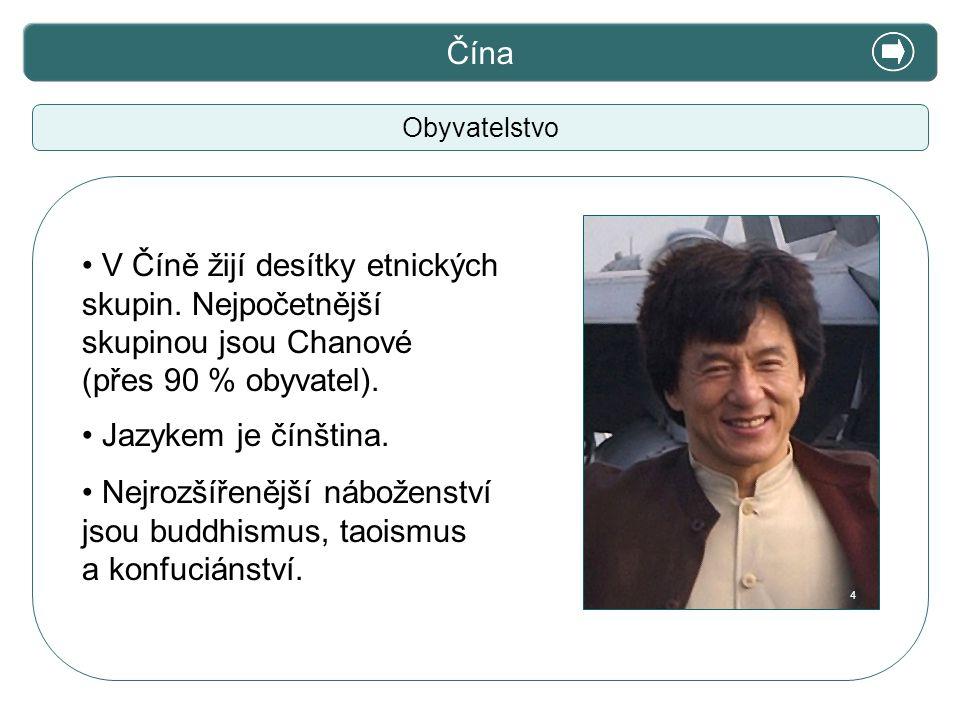 X. Zajímavosti Čína Obyvatelstvo V Číně žijí desítky etnických skupin. Nejpočetnější skupinou jsou Chanové (přes 90 % obyvatel). Jazykem je čínština.