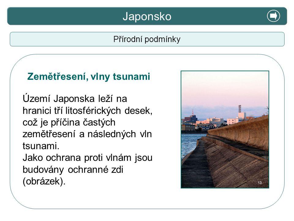 X. Zajímavosti Japonsko Přírodní podmínky Území Japonska leží na hranici tří litosférických desek, což je příčina častých zemětřesení a následných vln