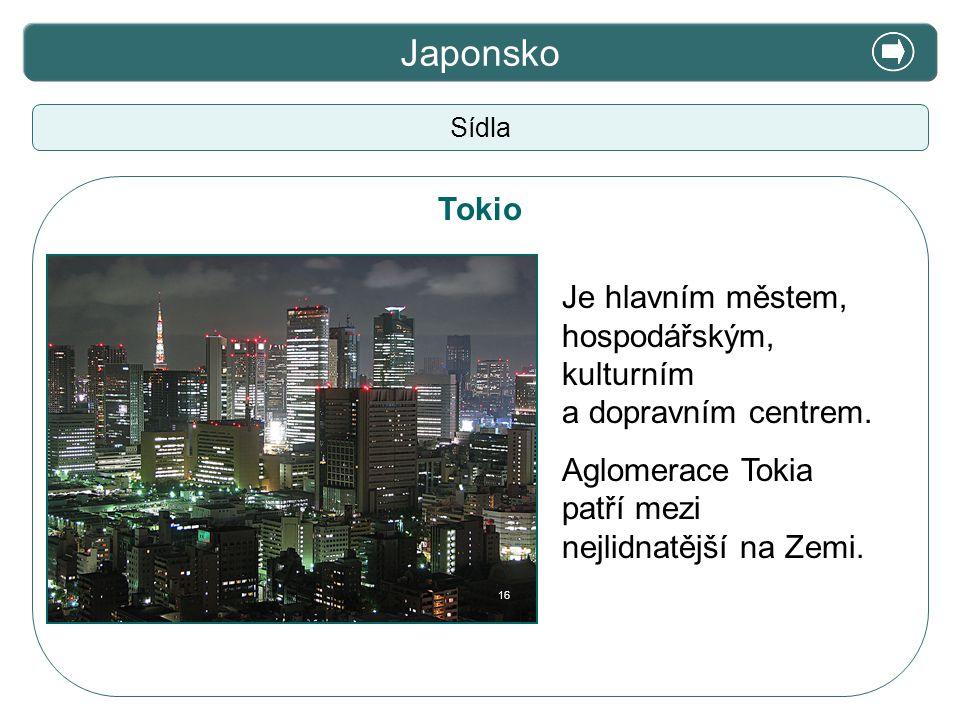 X. Zajímavosti Japonsko Sídla Tokio Je hlavním městem, hospodářským, kulturním a dopravním centrem. Aglomerace Tokia patří mezi nejlidnatější na Zemi.