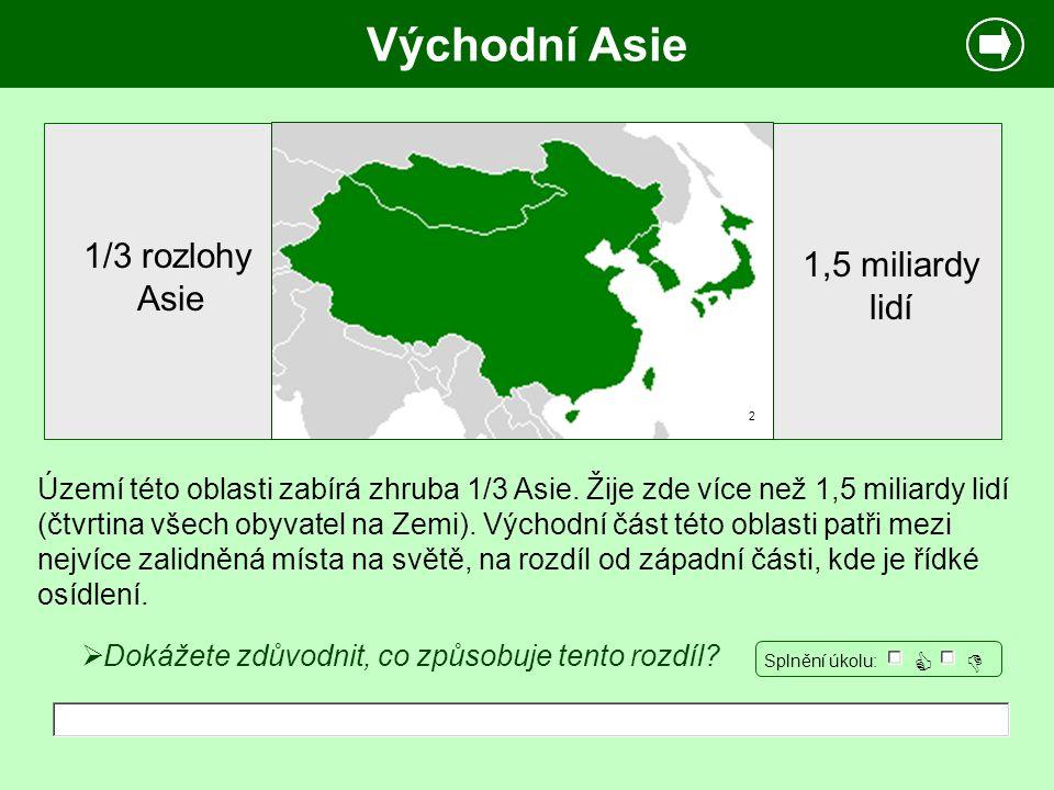 Východní Asie Území této oblasti zabírá zhruba 1/3 Asie. Žije zde více než 1,5 miliardy lidí (čtvrtina všech obyvatel na Zemi). Východní část této obl