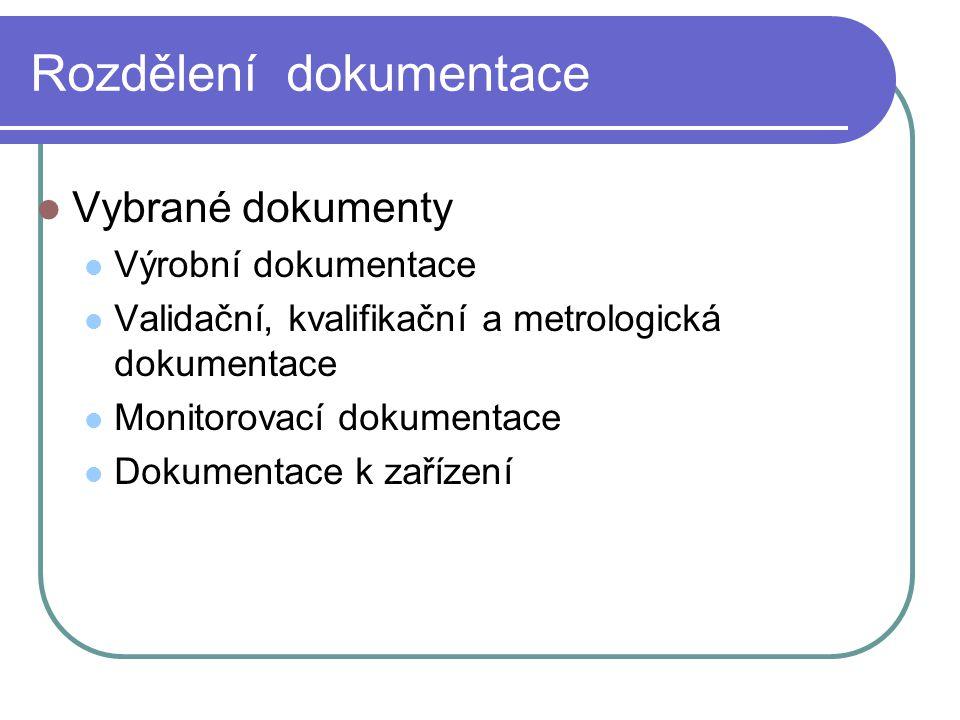 Rozdělení dokumentace Vybrané dokumenty Výrobní dokumentace Validační, kvalifikační a metrologická dokumentace Monitorovací dokumentace Dokumentace k