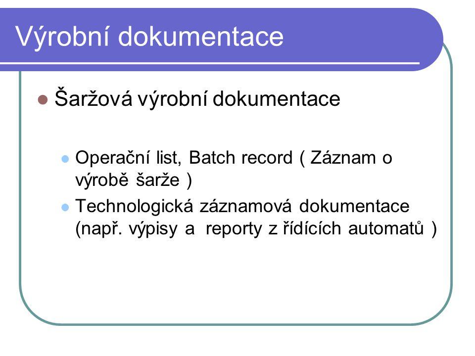 Výrobní dokumentace Šaržová výrobní dokumentace Operační list, Batch record ( Záznam o výrobě šarže ) Technologická záznamová dokumentace (např. výpis