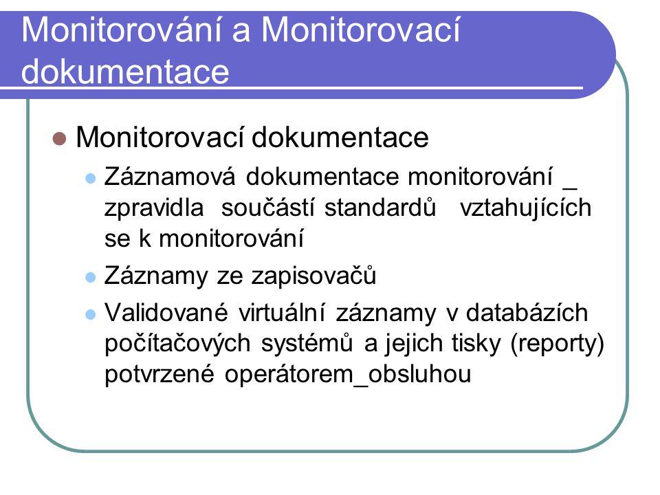 Monitorování a Monitorovací dokumentace Monitorovací dokumentace Záznamová dokumentace monitorování _ zpravidla součástí standardů vztahujících se k m