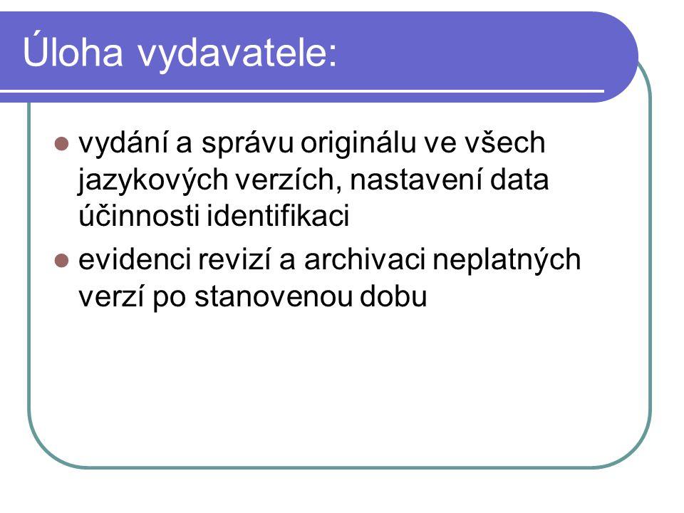 Úloha vydavatele: vydání a správu originálu ve všech jazykových verzích, nastavení data účinnosti identifikaci evidenci revizí a archivaci neplatných