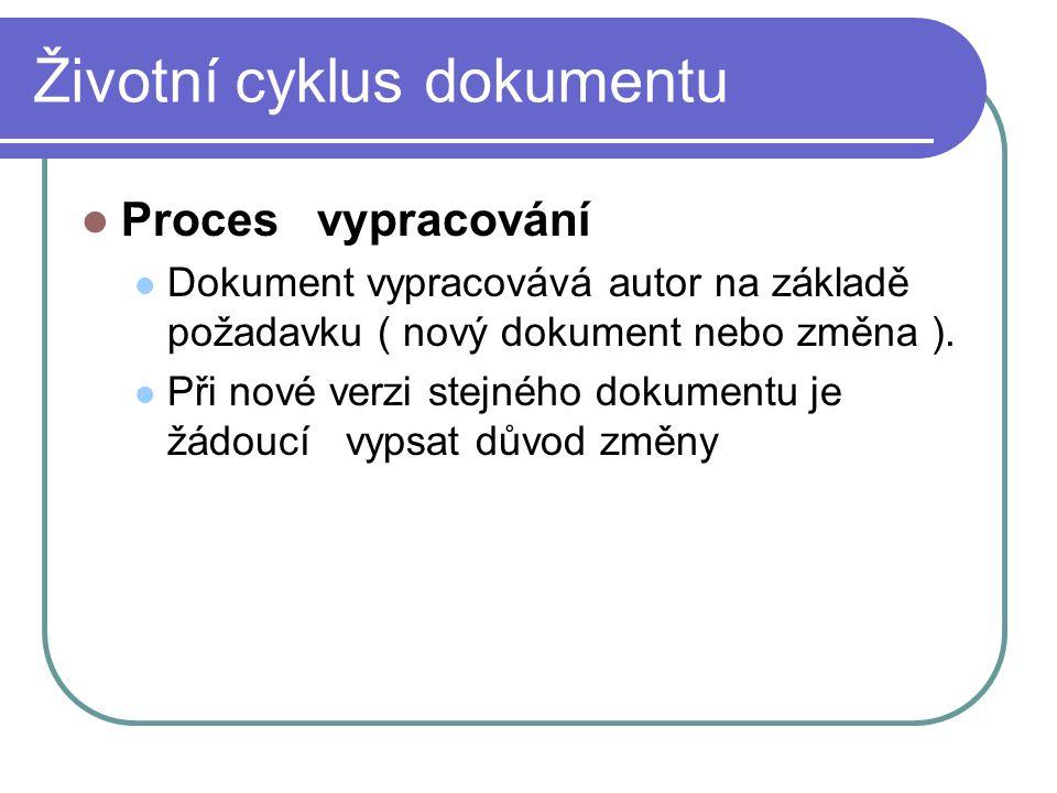 Životní cyklus dokumentu Proces vypracování Dokument vypracovává autor na základě požadavku ( nový dokument nebo změna ). Při nové verzi stejného doku