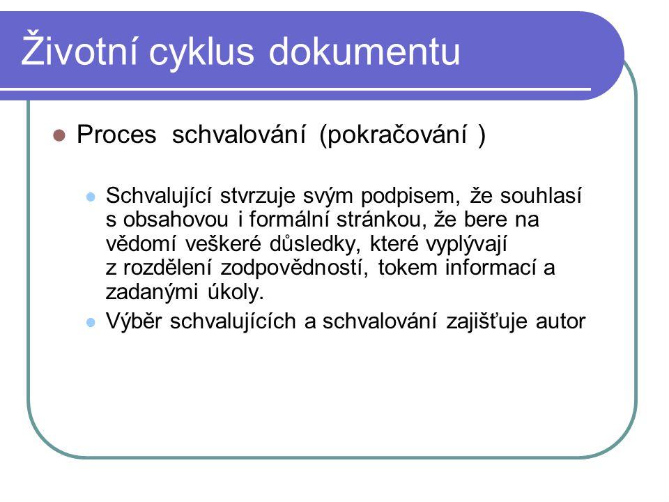 Životní cyklus dokumentu Proces schvalování(pokračování ) Schvalující stvrzuje svým podpisem, že souhlasí s obsahovou i formální stránkou, že bere na