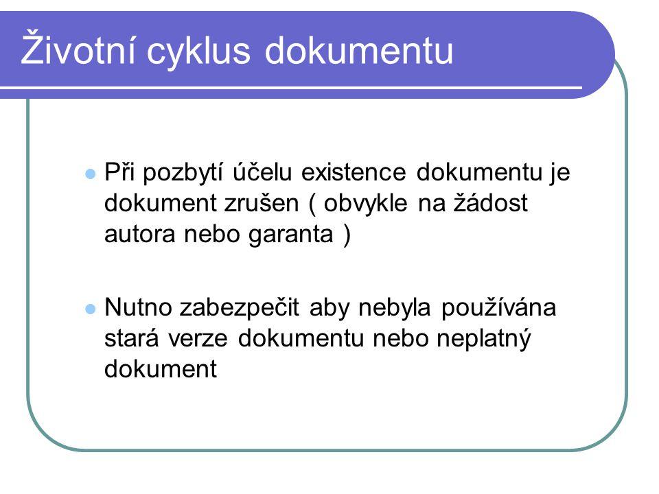 Životní cyklus dokumentu Při pozbytí účelu existence dokumentu je dokument zrušen ( obvykle na žádost autora nebo garanta ) Nutno zabezpečit aby nebyl