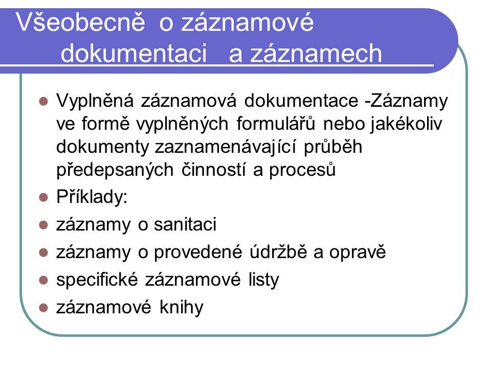 Všeobecně o záznamové dokumentaci a záznamech Vyplněná záznamová dokumentace -Záznamy ve formě vyplněných formulářů nebo jakékoliv dokumenty zaznamená