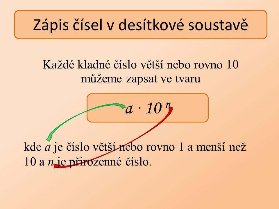 Mocniny čísla 10 Mocnitel je stejný jako počet nul.