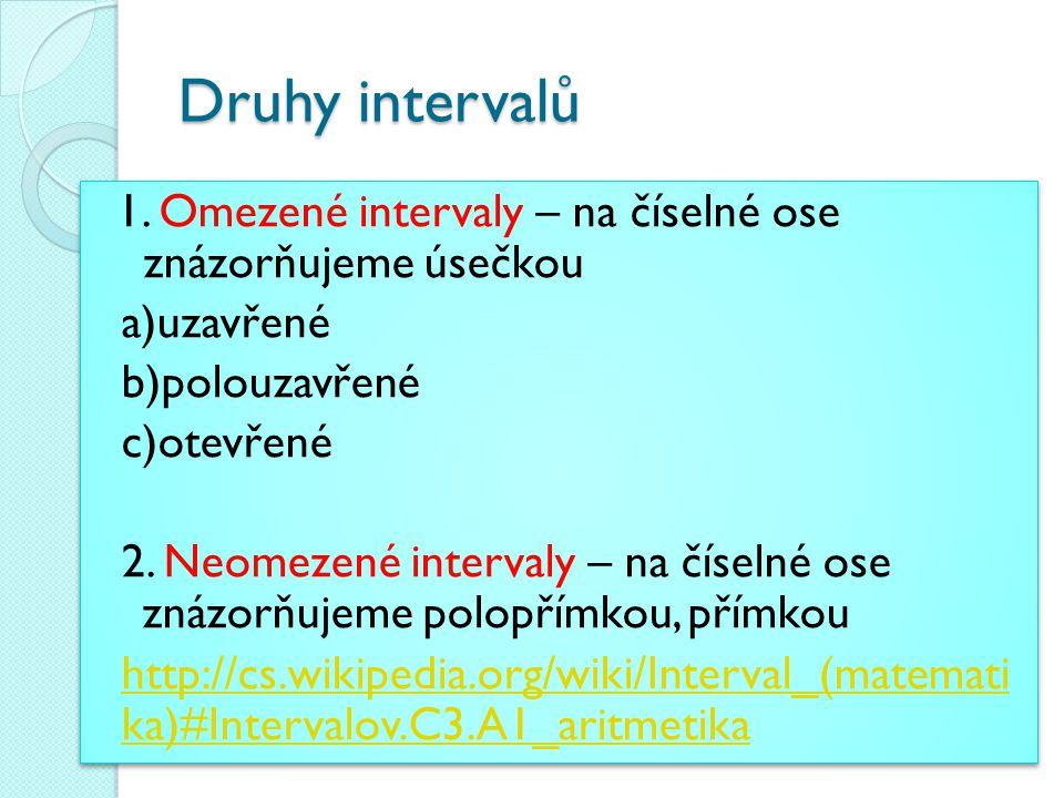 Druhy intervalů 1.