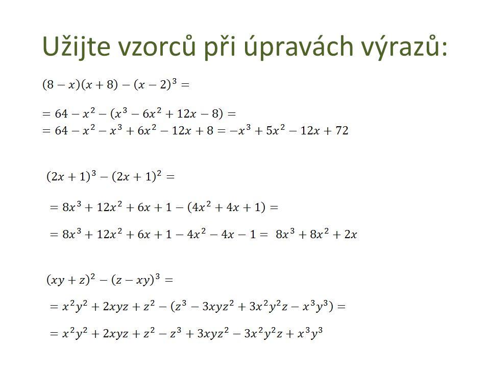 Zapište výrazy vyjádřené slovy: Od druhé mocniny čísla r odečtěte druhou mocninu čísla k.