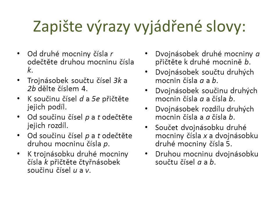 Zdroje: J.Houska, J. Hávová, B. Holub Matematika pro 9.