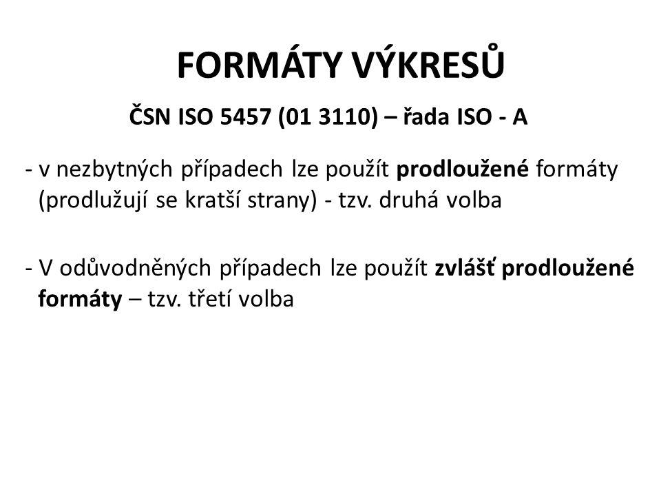 FORMÁTY VÝKRESŮ ČSN ISO 5457 (01 3110) – řada ISO - A - v nezbytných případech lze použít prodloužené formáty (prodlužují se kratší strany) - tzv. dru