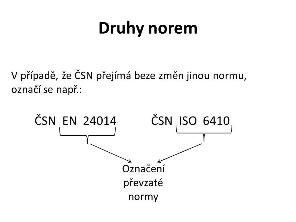 Druhy norem V případě, že ČSN přejímá beze změn jinou normu, označí se např.: ČSN EN 24014ČSN ISO 6410 Označení převzaté normy