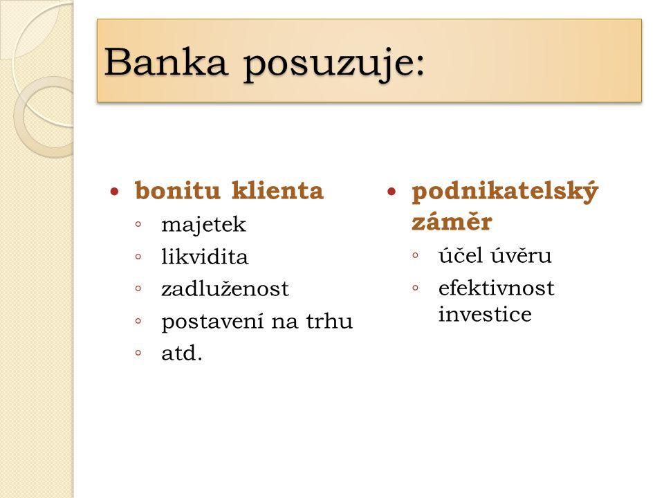 bonitu klienta ◦ majetek ◦ likvidita ◦ zadluženost ◦ postavení na trhu ◦ atd. podnikatelský záměr ◦ účel úvěru ◦ efektivnost investice Banka posuzuje: