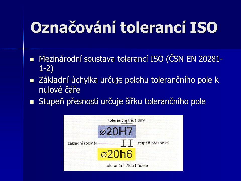 Označování tolerancí ISO Mezinárodní soustava tolerancí ISO (ČSN EN 20281- 1-2) Mezinárodní soustava tolerancí ISO (ČSN EN 20281- 1-2) Základní úchylka určuje polohu tolerančního pole k nulové čáře Základní úchylka určuje polohu tolerančního pole k nulové čáře Stupeň přesnosti určuje šířku tolerančního pole Stupeň přesnosti určuje šířku tolerančního pole