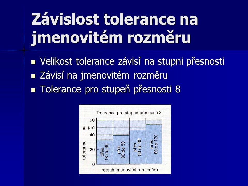 Závislost tolerance na jmenovitém rozměru Velikost tolerance závisí na stupni přesnosti Velikost tolerance závisí na stupni přesnosti Závisí na jmenovitém rozměru Závisí na jmenovitém rozměru Tolerance pro stupeň přesnosti 8 Tolerance pro stupeň přesnosti 8