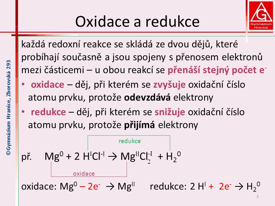 Oxidační a redukční činidlo Oxidační činidlo je látka, která jiné látky oxiduje, a atomy této látky se redukují, uvedený příklad - HCl častá oxid.