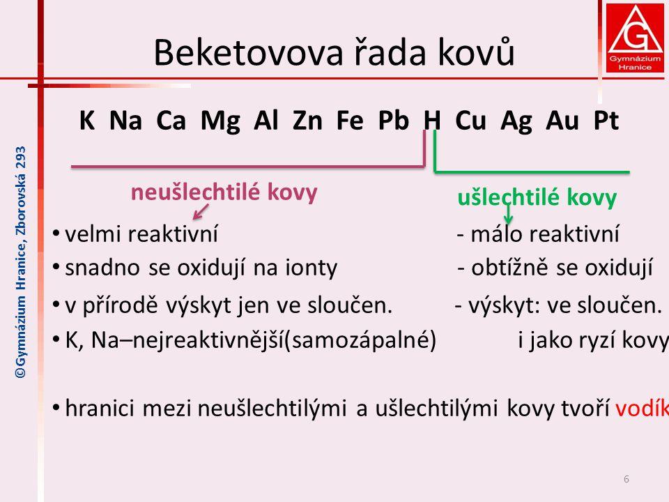Beketovova řada kovů Reaktivita kovů vyplývající z Beketovovy řady kovů 1.čím je kov více vlevo, tím snáze se oxiduje na kationty čím je kov více vpravo, tím snáze se jeho kationty redukují na ryzí kov oxidace Ca 0 → Ca II probíhá snadněji než Zn 0 → Zn II redukce Au III → Au 0 probíhá snadněji než Cu II → Cu 0 2.daný kov je schopen vytěsnit (vyredukovat) z roztoku kovy stojící v Bek.