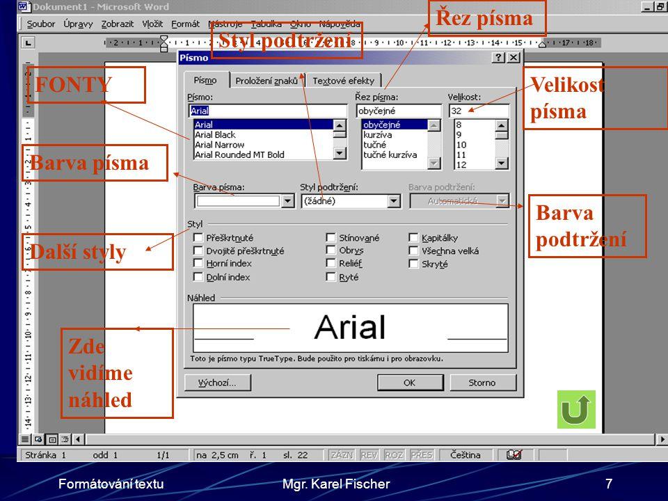 Formátování textuMgr.