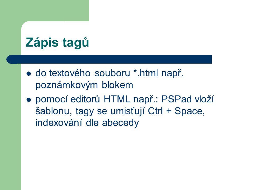 Zápis tagů do textového souboru *.html např. poznámkovým blokem pomocí editorů HTML např.: PSPad vloží šablonu, tagy se umisťují Ctrl + Space, indexov