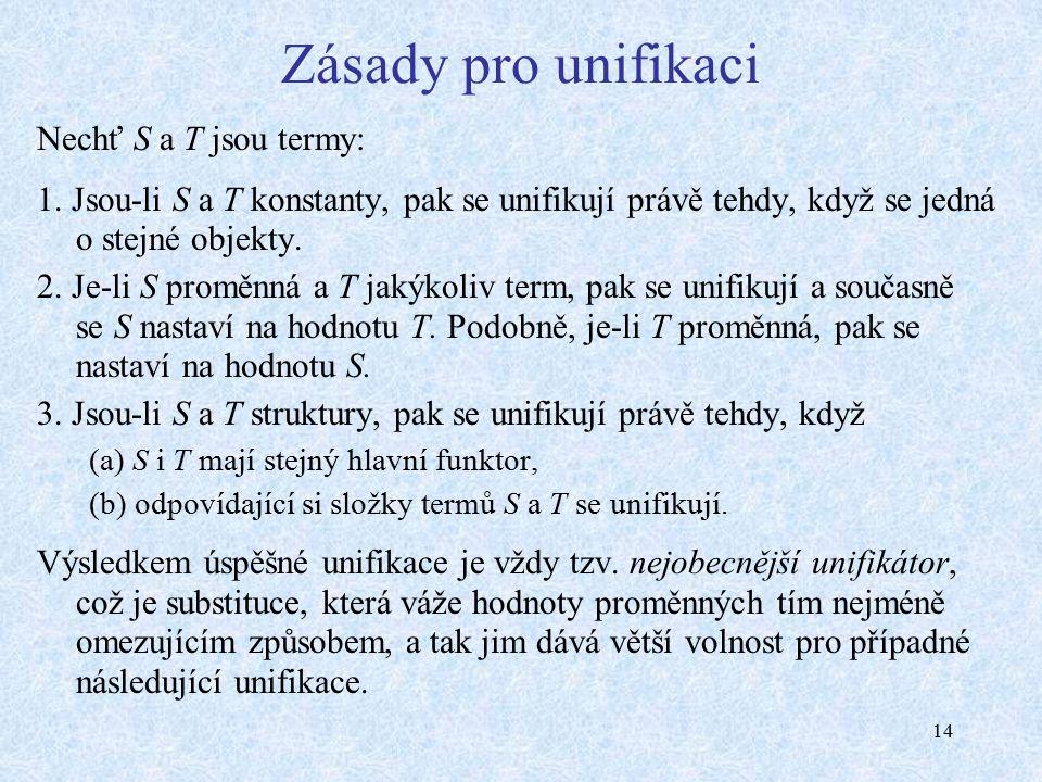 14 Zásady pro unifikaci Nechť S a T jsou termy: 1.