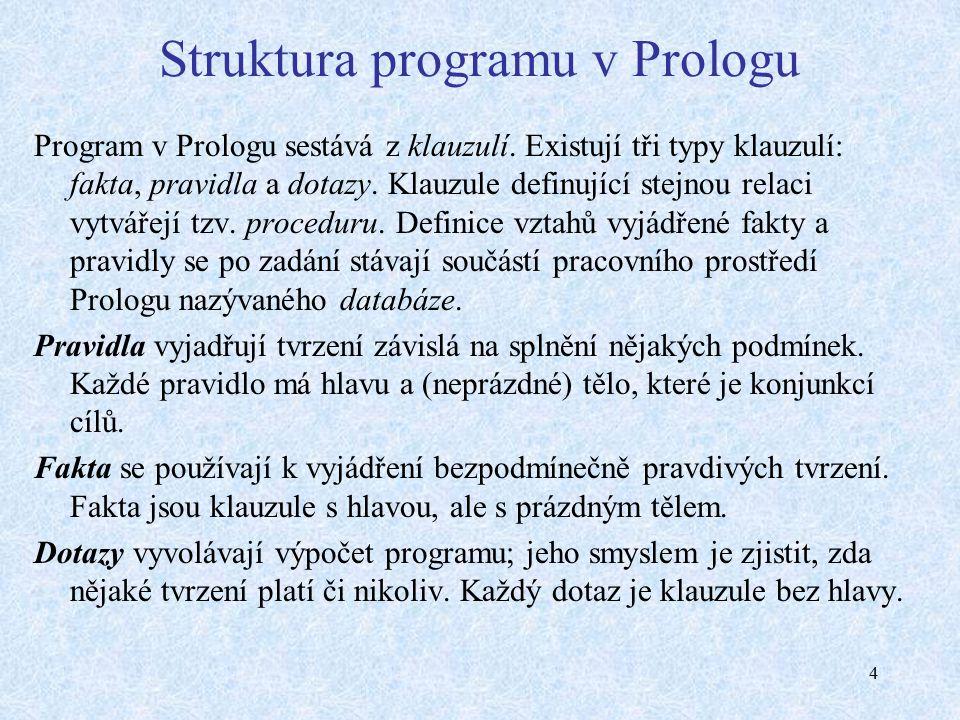 4 Struktura programu v Prologu Program v Prologu sestává z klauzulí.