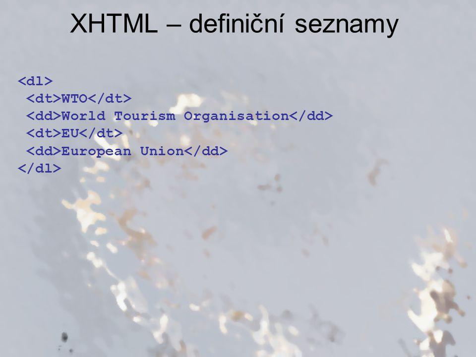 XHTML – definiční seznamy WTO World Tourism Organisation EU European Union