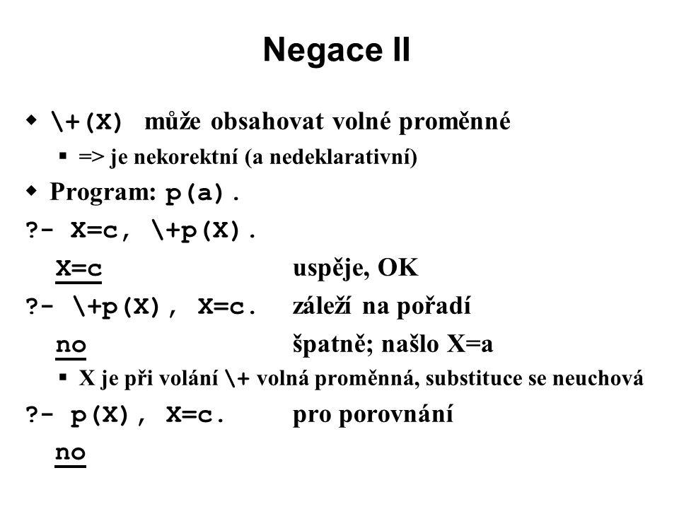 Negace II  \+(X) může obsahovat volné proměnné  => je nekorektní (a nedeklarativní)  Program: p(a).