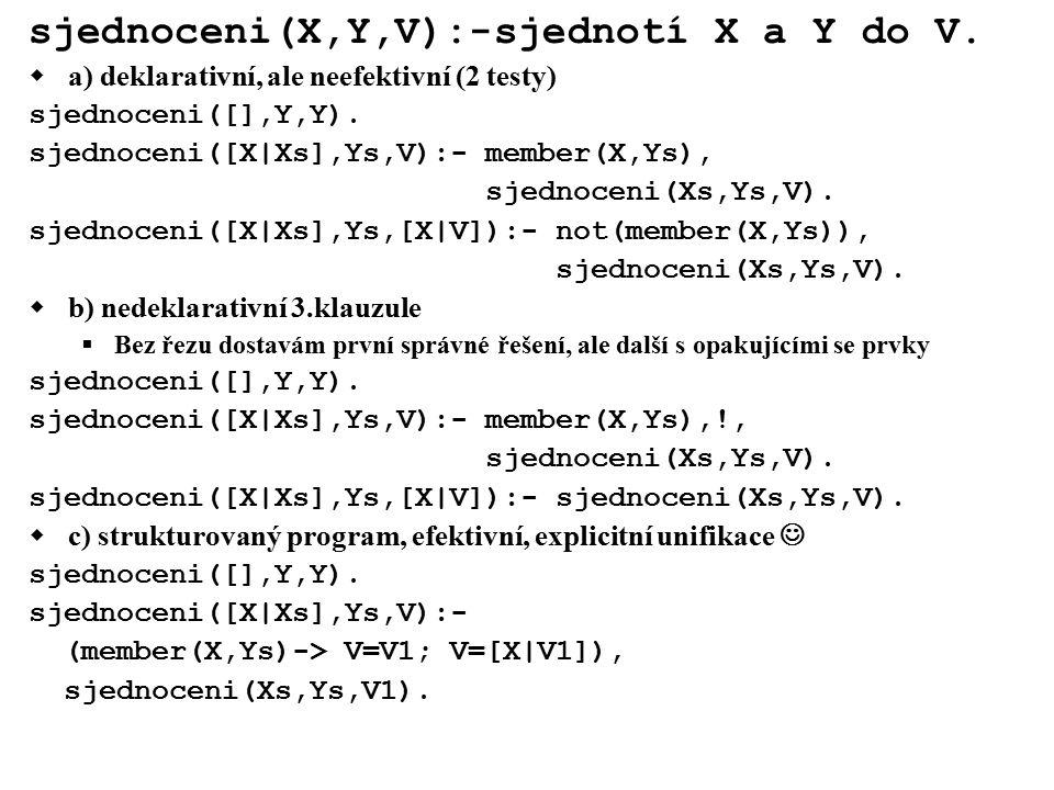sjednoceni(X,Y,V):-sjednotí X a Y do V.