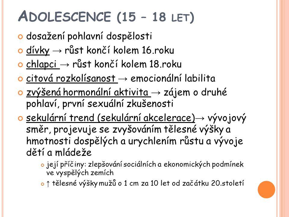 A DOLESCENCE (15 – 18 LET ) dosažení pohlavní dospělosti dívky → růst končí kolem 16.roku chlapci → růst končí kolem 18.roku citová rozkolísanost → em