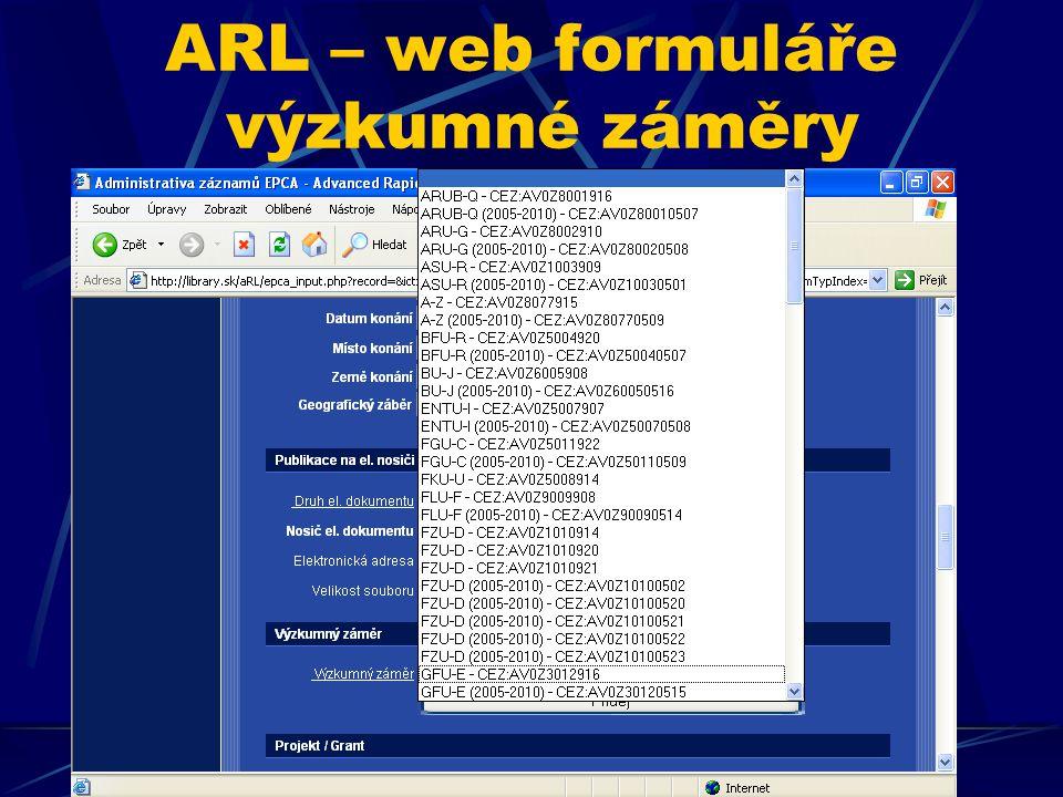 ARL – web formuláře výzkumné záměry