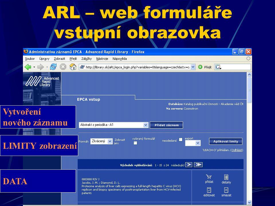 ARL – web formuláře helpy HELP, kde je - podtržení