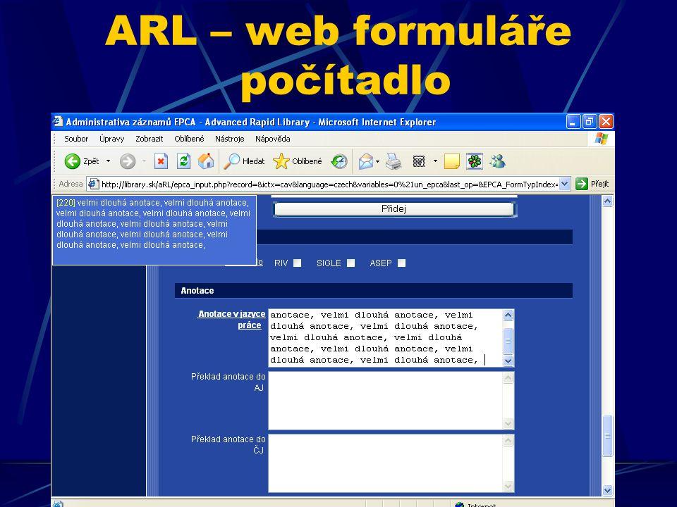 ARL – web formuláře počítadlo