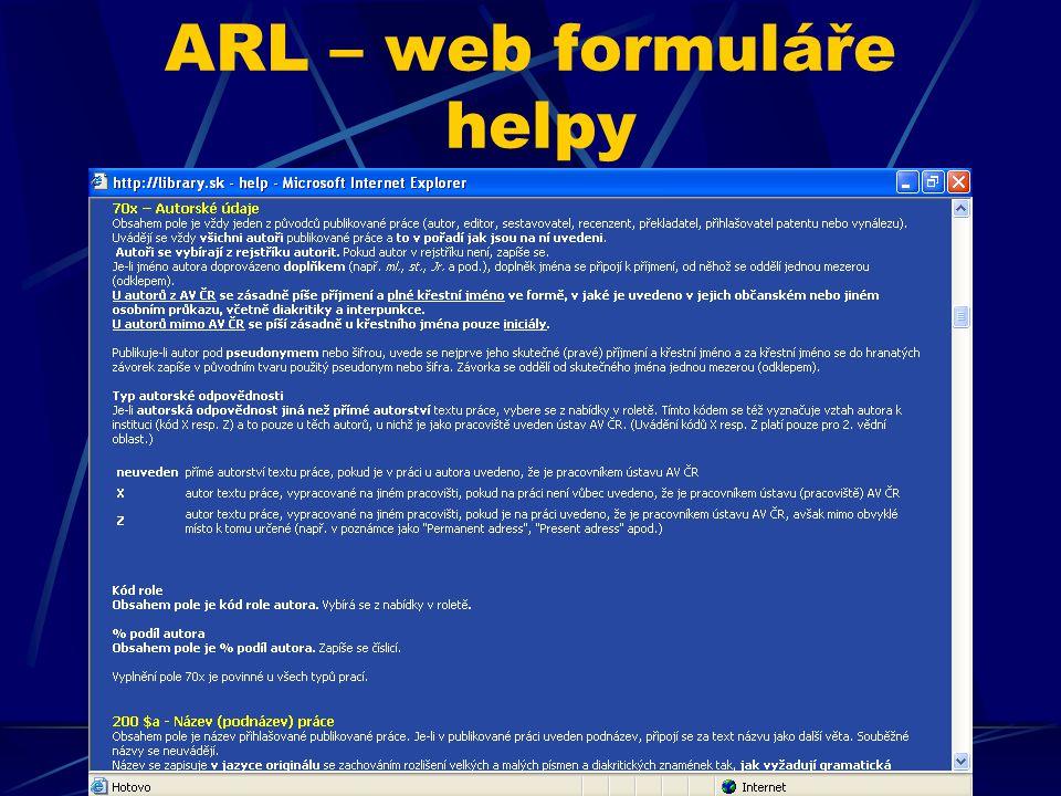 ARL – web formuláře helpy