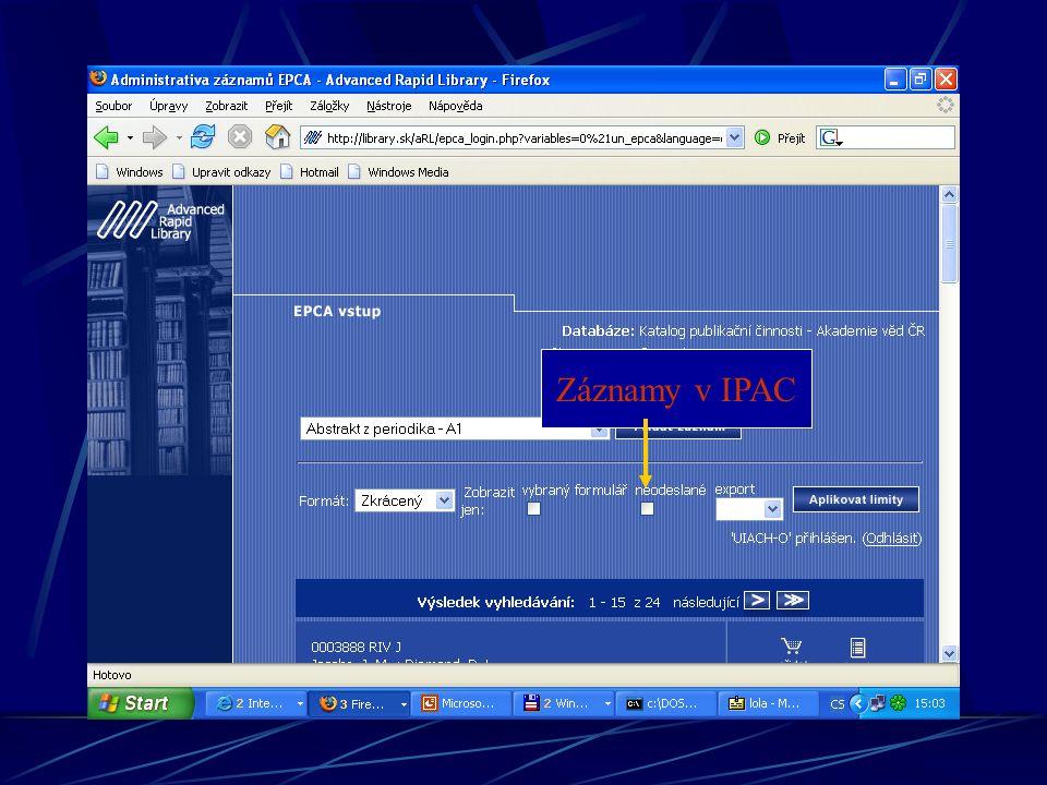 Záznamy v IPAC