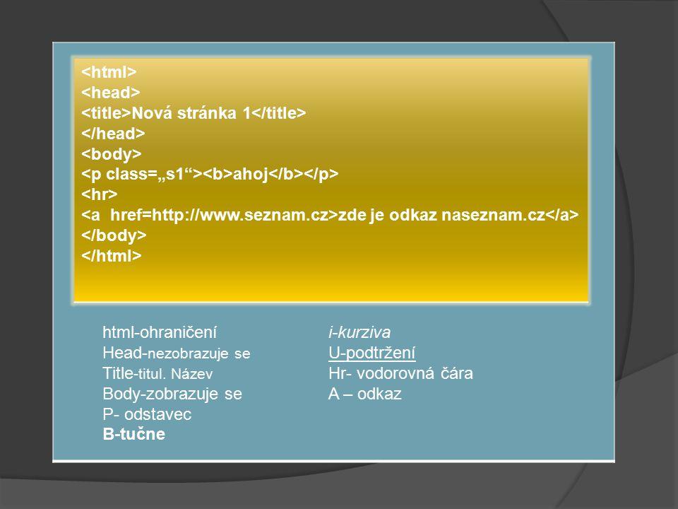 Kaskádové styly (CSS) /* CSS Document */ body {background-color: yellov; }.s1 { font-family: Times New Roman; font-size: 13pt; color: black; }