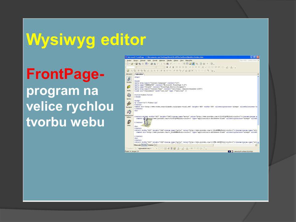 Wysiwyg editor FrontPage- program na velice rychlou tvorbu webu